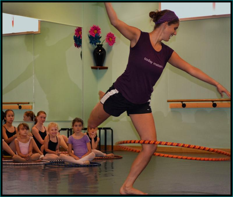 Sarah Hill teaches Hoop Dance Classes at The Dance Element in Wilmington NC