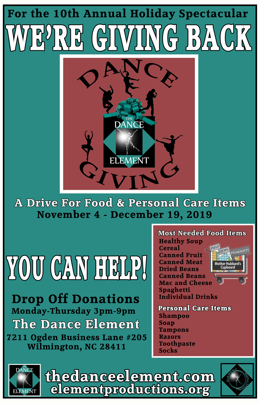 The Dance Element studio hosts Holiday food drive in Wilmington NC