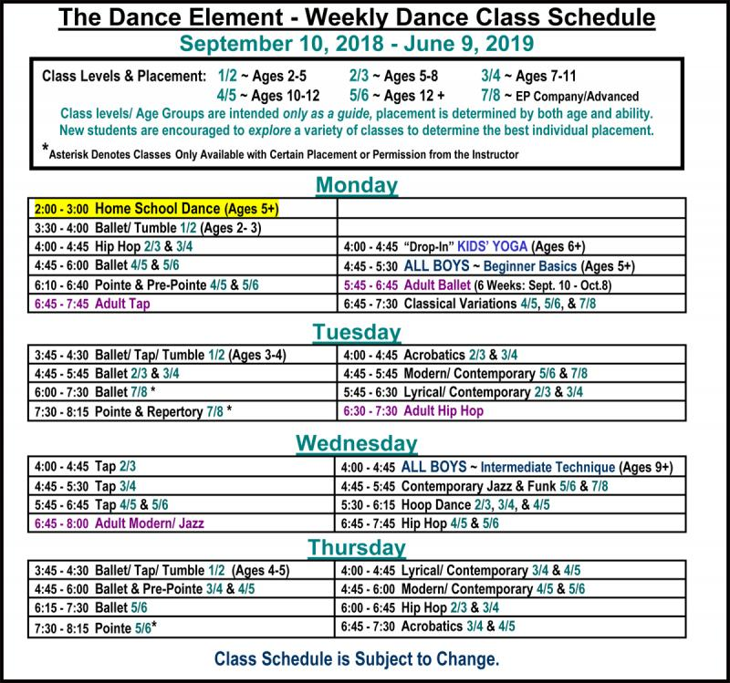 Schedule of Dance Classes for Home School Students in Wilmington NC