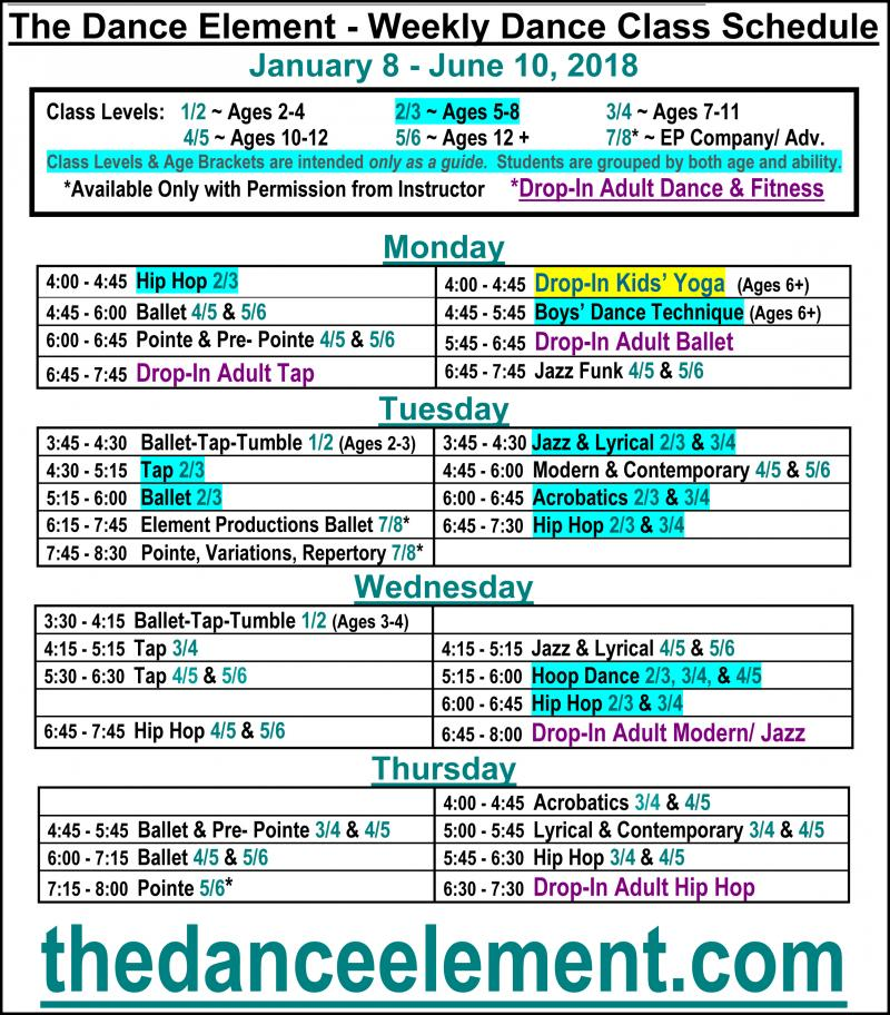 Schdeule of Ballet, Hip Hop, & Dance Classes for Ages 5 to 8, in Wilmington NC